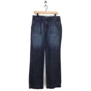 J.Crew Wide Leg Denim Trouser Pant Dark Wash 6